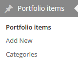 Manage Portfolio Items in the admin backend.