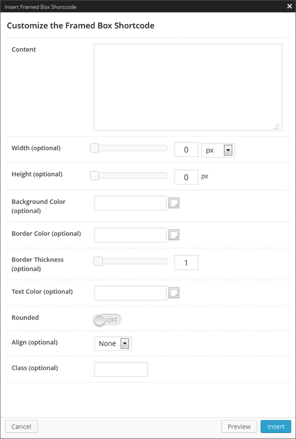 Framed Box Shortcode Options Panel