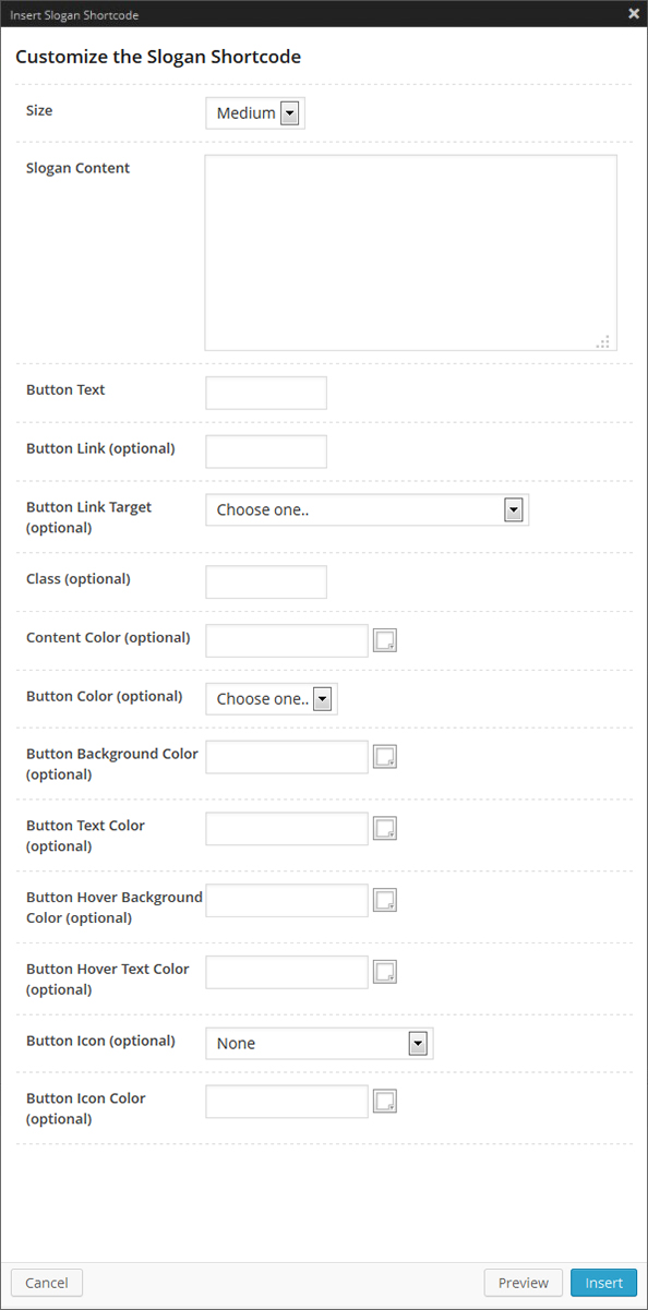 Slogan Shortcode Options Panel
